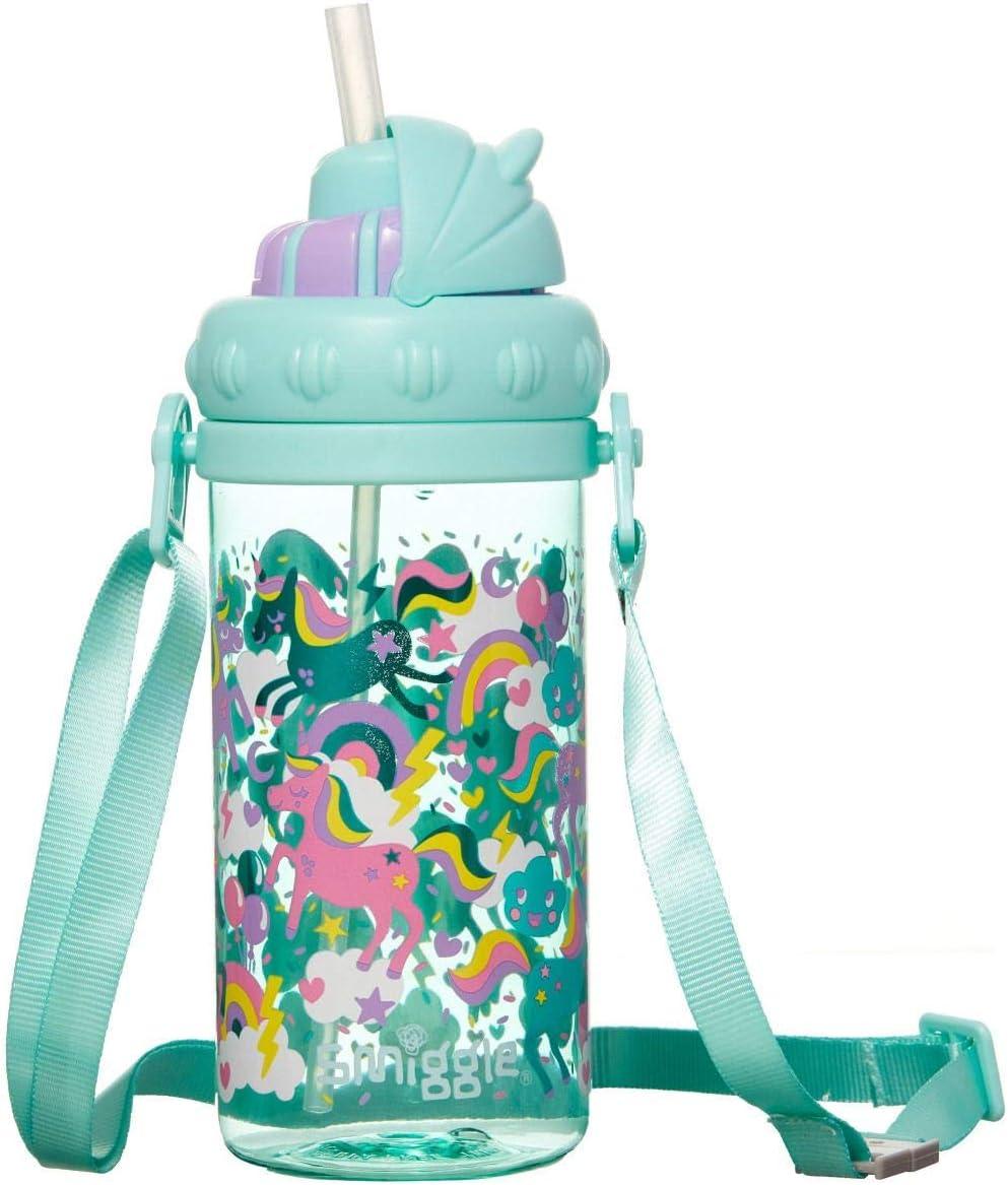 Smiggle Skip Teeny Tiny, botella de agua rellenable para guardería con asa de transporte, boquilla a presión suave y 430 ml de capacidad | Con dibujos de unicornios