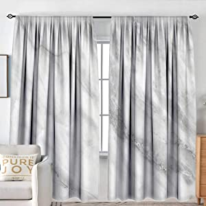 "NUOMANAN Decor Waterproof Window Curtain Marble,Marble Surface Textured Hazy Cracks and Veins Shady Limestone Ceramic Artful Print,Grey Dust,Darkening and Thermal Insulating Draperies 54""x84"""