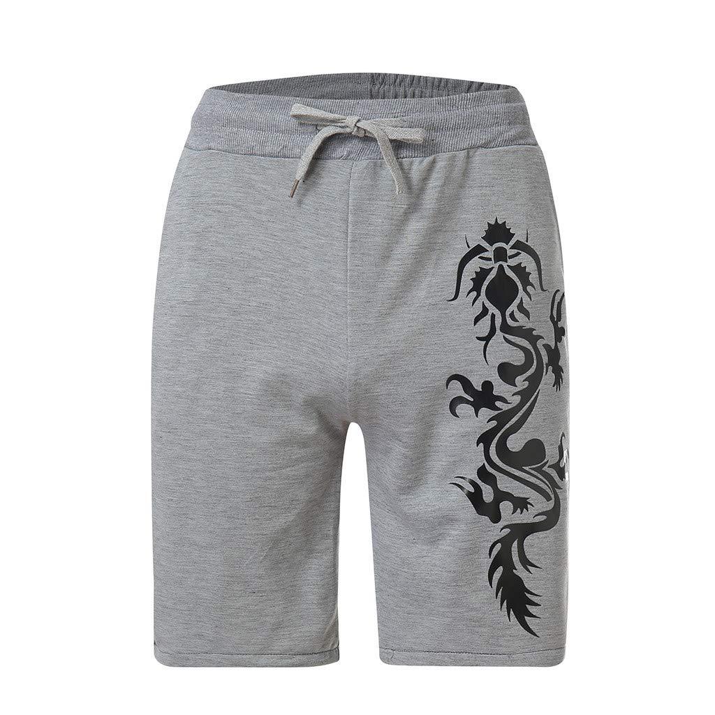 Shorts for Men, F_Gotal Men's Casual Dragon Printed Elastic Waist Sports Pants Training Jogger Shorts Sweatpants Gray