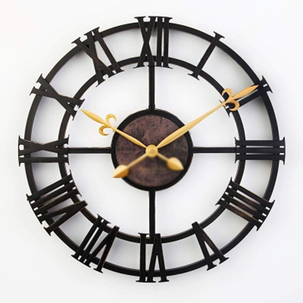 ROLLDDC ウォールクロックアナログノンティックギアクロック素朴なレトロな装飾的な素朴なヴィンテージルックタイマー16インチ   B07STVRPJ2