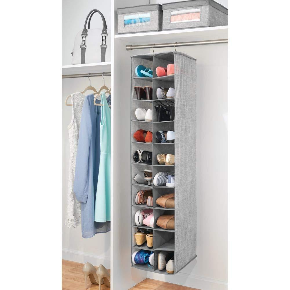 mDesign Zapatero colgante - Organizador de zapatos con 20 compartimentos y estampado con textura - Estantería de tela para carteras, bolsos o zapatos, ...
