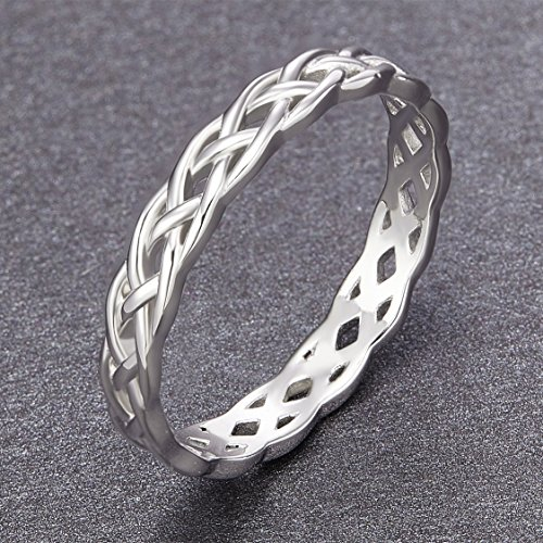 SOMEN TUNGSTEN 925 Sterling Silver Ring 4mm Eternity Knot Wedding Band for Women Size 7.5 by SOMEN TUNGSTEN (Image #2)'