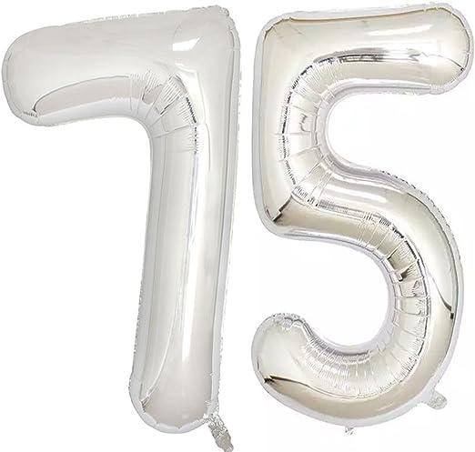 Amazon.com: 40 inch de lámina plateada 75 helio Jumbo número ...