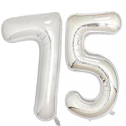 Amazon 40inch Silver Foil 75 Helium Jumbo Digital Number