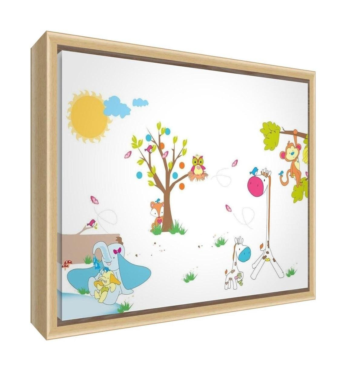 Feel Good Art Eco-Printed & Framed Nursery Canvas with Solid Natural Wooden Frame ≪Animals≫ Multicoloured, 64 x 44 x 3cm (Large) ANIMALS-1624FCNAT-12