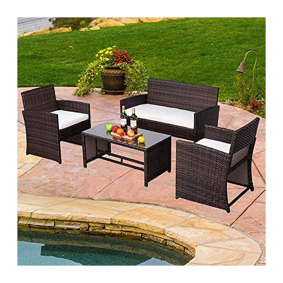 Do4U Outdoor Patio Furniture Set 4 Pcs PE Rattan Wicker Garden Sofa and Chairs Set with Beige Cushion with Table (Mix-Beige) - 【4 PCs Patio Set Included】Composed of 1 double sofa, 2 single sofas, and 1 table with tempered glass for the complete outdoor conversation set. 【Weather-Resistant Resin】Designed Perfect for indoor, outdoor garden, apartment, park, porch, poolside and yard use, this wicker conversation set is strong enough to withstand the rain, sun, and wind. 【Upgraded Comfort】These lofty sponge padded cushions won't collapse after use, resist water, and are easy to clean in between uses, and the cushion covers remove with a quick zip.250g zipped polyester cover for easy cleaning. - patio-furniture, patio, conversation-sets - 61q93jce%2ByL. SS570  -