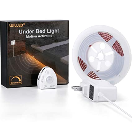 official photos ab1a8 803bb Under Bed Light, WILLED Dimmable Motion Activated Bed Light 5ft LED Strip  with Motion Sensor and Power Adapter, Bedroom Night Light Amber for Baby,  ...