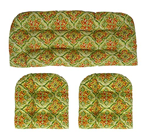 RSH Décor Indoor/Outdoor Wicker Cushions Two U-Shape and Loveseat 3 Piece Set (Green Scroll Medalion) 3 Piece Scroll Bath