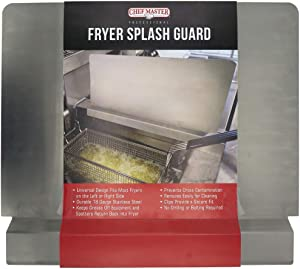 Chef Master 90059 Commercial Deep Fryer Splash Guard | Stops Oil From Splattering | Clips Provide a Secure Fit | Durable 18 Gauge Stainless Steel | Measures 20.5 x 15 Inches