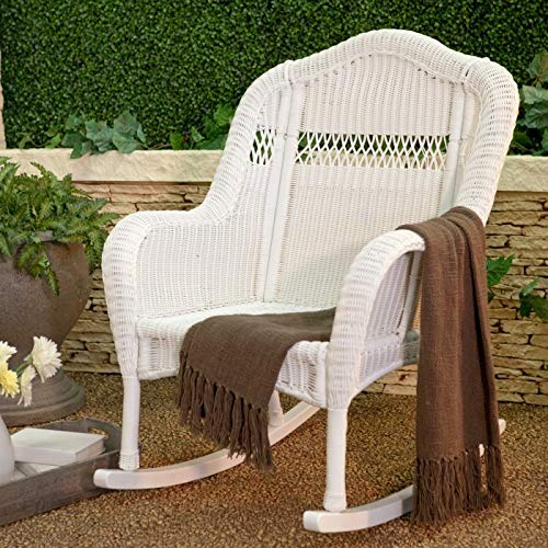 Classic White Resin Wicker Traditional Porch Rocking Chair Outdoor Patio Rocker Chair Furniture ()