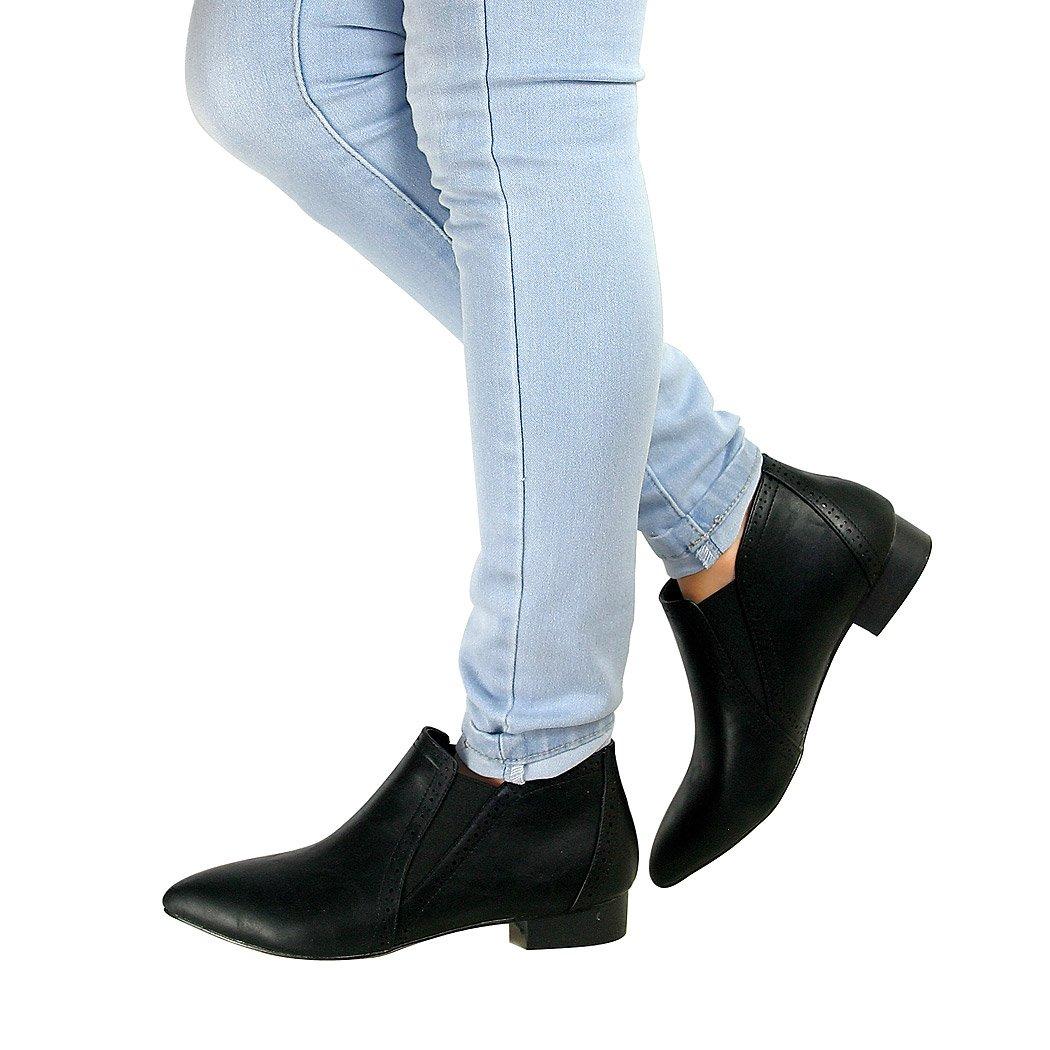 Perfect Me Mujer Chelsea Tacón Bajo Plano Duende Botines Sin Cierres Zapatos Nuevo Talla - Piel Sintética Negro, 38 EU: Amazon.es: Zapatos y complementos