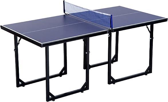 HOMCOM – 183 cm Mini Tenis Mesa Plegable portátil Mesa de Ping ...