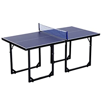 HOMCOM 183cm Mini Tennis Table Folding Portable Ping Pong Table With Net  For Indoor Outdoor Game