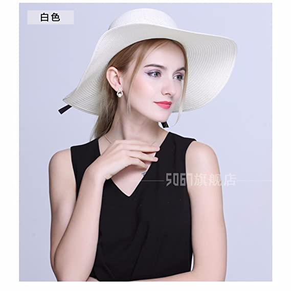 xIAOgEgE La nueva chica cap verano sombrero de paja plegable sombrero Playa  Sol cap flat top hat a415a872dda