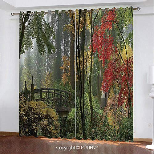 Satin Grommet Window Curtains Drapes [ Apartment Decor,Wet Wooden Bridge at Portland Japanese Garden Oregon in Autumn with Various Trees, ] Window Curtain for Living Room Bedroom Dorm Room Classroom K