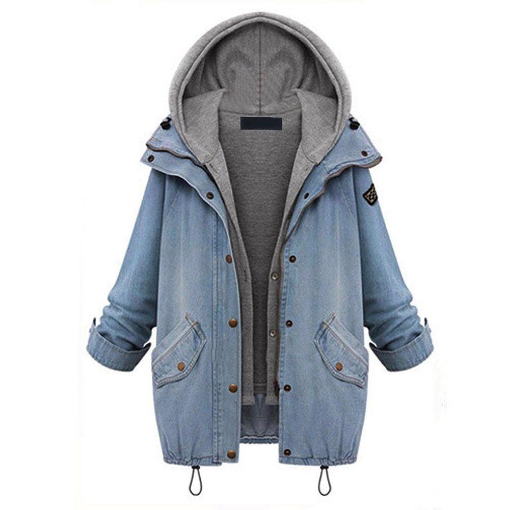 LAEMILIA 2pcs Women Winter Blue Zip Up Denim Jeans Jacket Coat Outwear with Cotton Hoodie Vest