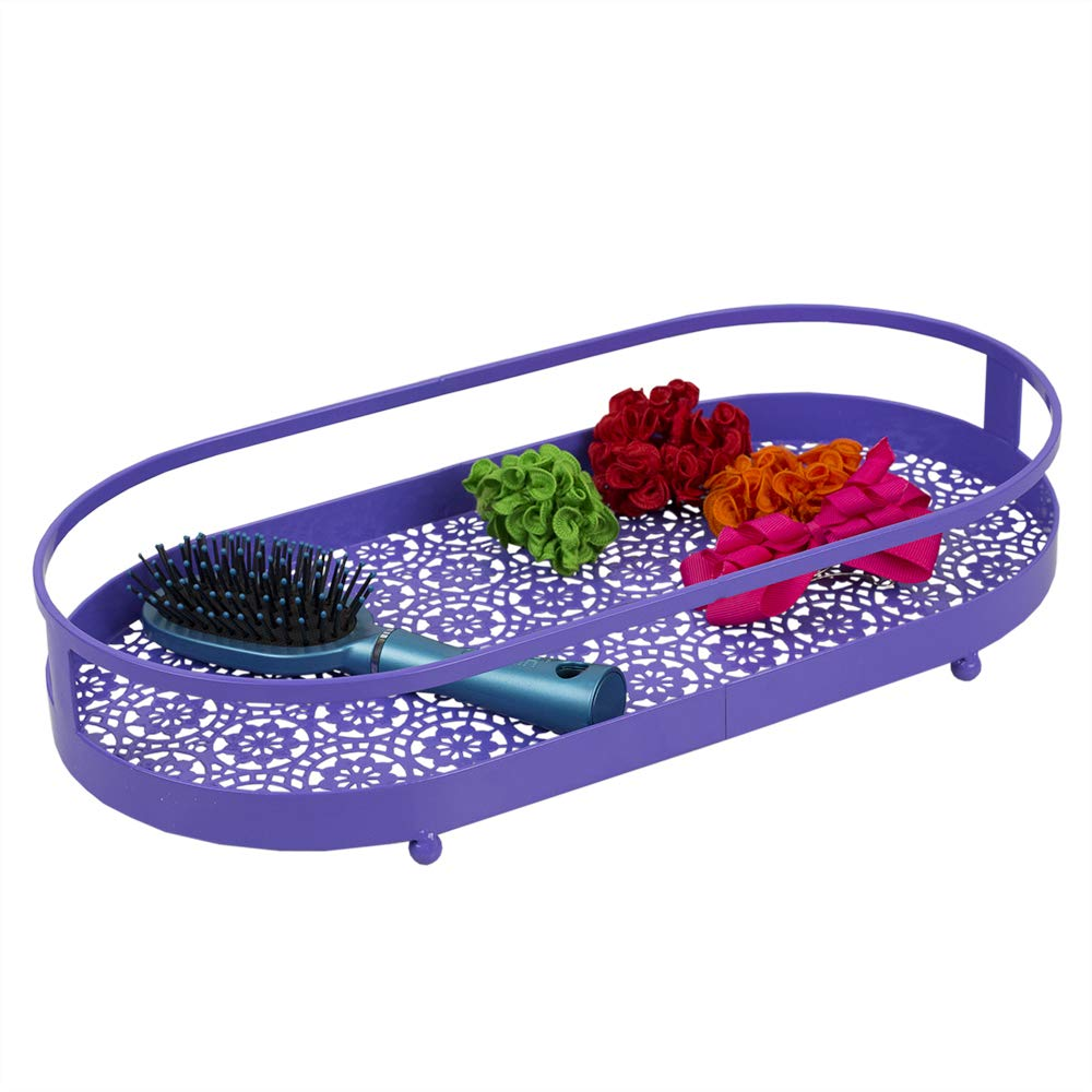 Home Basics Oval Lace Decorative Plastic Vanity Tray with Rounded Feet (Purple) by Home Basics