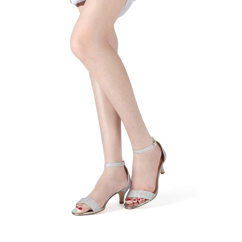 SHOWHOW Women/'s Classic Stilettos Open Toe Ankle Strap Kitten Heeled Sandals Dress Bridal Party Heels