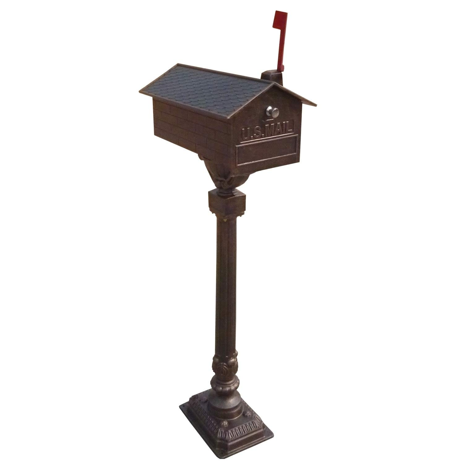 Oakland Living Solid Heavy Cast Aluminum Mailbox with Flag, Number Plate, and Handle