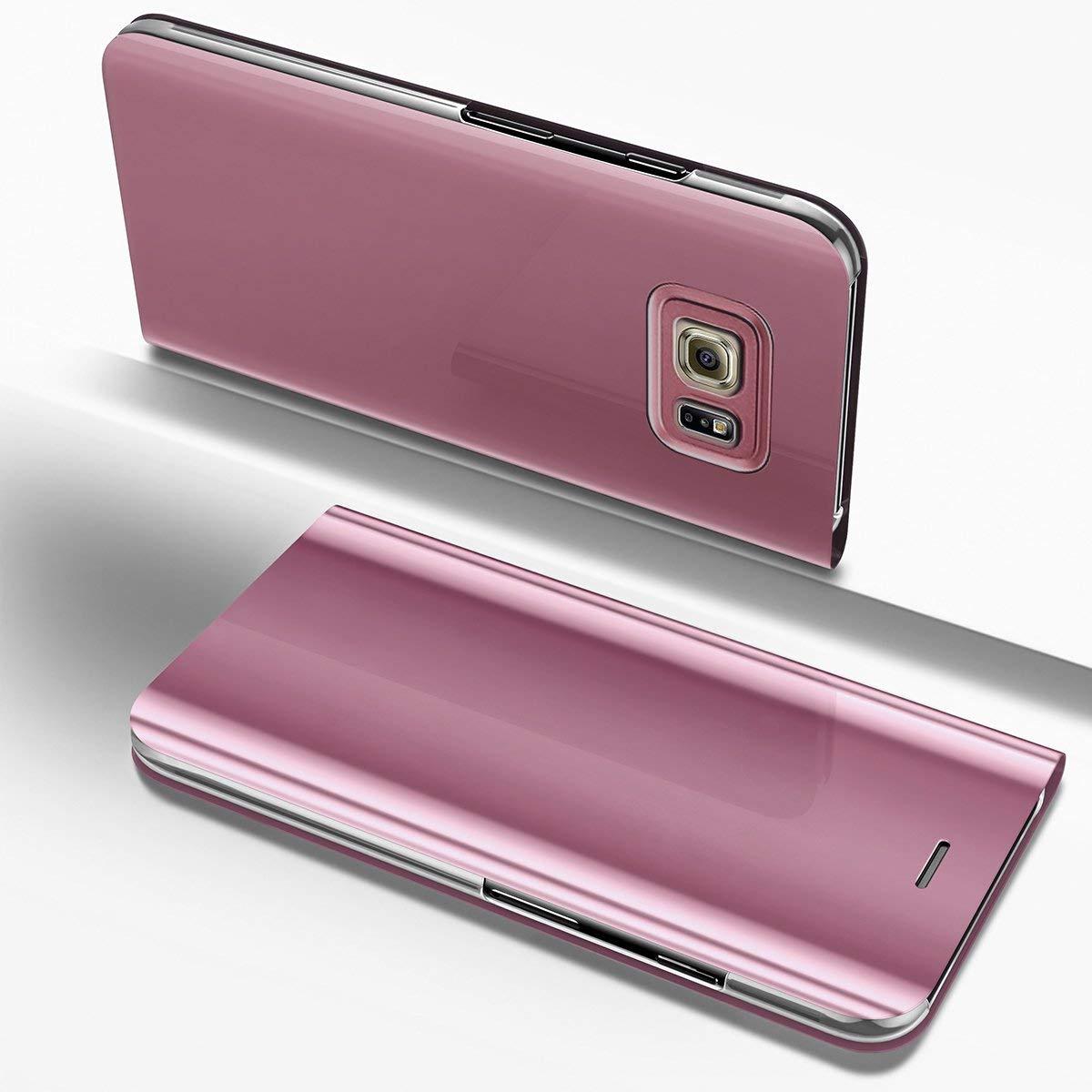 Samsung Galaxy Note 5ケース、IKASEFUめっきメッキPUレザーPCミラーフリップフォリオスタンドケースカバー保護超スリム薄型フルボディ保護ケースカバーfor Samsung Galaxy Note 5 IKASEFU00005264  ローズゴールド B07BFP74KQ