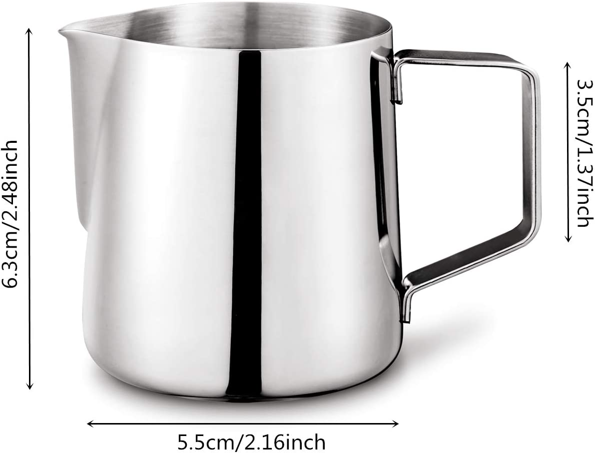 capuchino y latte 150 ml caf/é con leche jarra para espumar leche Barista Jarra de acero inoxidable para espumar leche