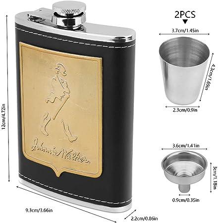 Petacas de Alcohol, hicoosee Petacas 8 OZ con 2 Tazas y Embudo Acero Inoxidable Cuero Negro Frasco Portátil de Cadera para Whisky, Ron Brandy de Vodka