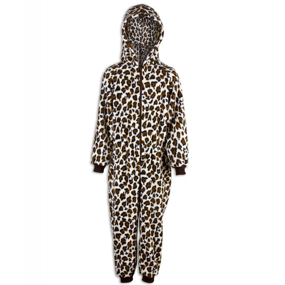 Camille Childrens Unisex Brown Snow Leopard Print Hooded Fleece Onesie