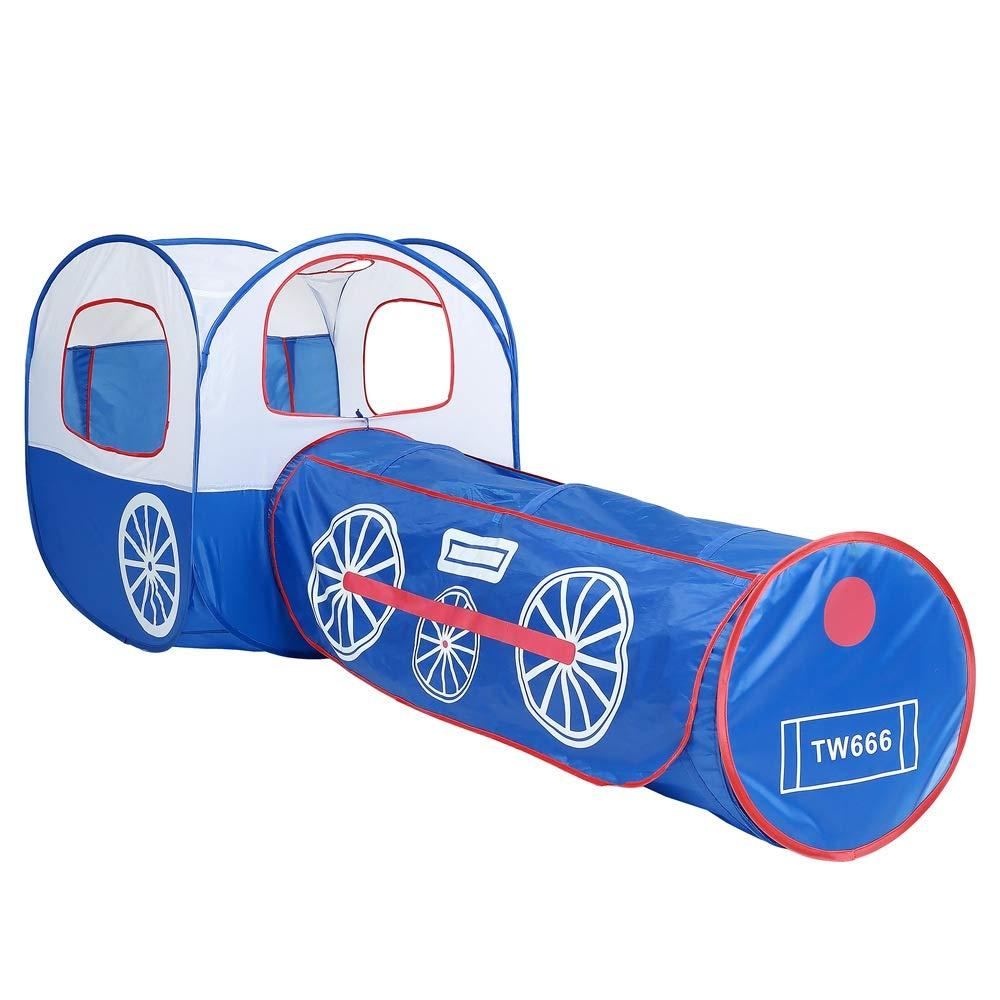 Durable Tubo de la carpa de los niños que dobla el tubo portátil de la escalada del tubo del agujero del taladro del sitio mágico portátil del juguete del bebé, túnel de arrastre del tren azul Tienda