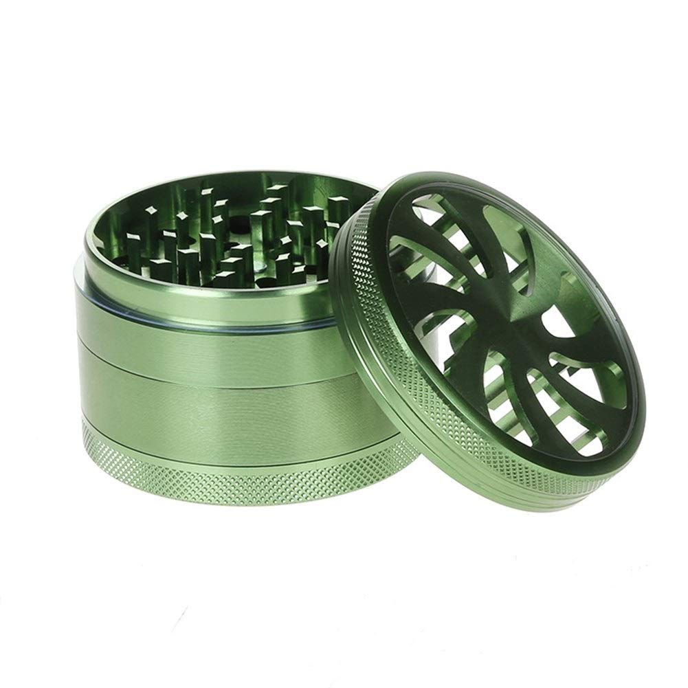 Yzyamz Herb Grinder Aluminum Four-layer Petal Grinder Portable Manual Grinder Bench Grinder, 2.5in'' (63Mm) (Color : Green) by Yzyamz