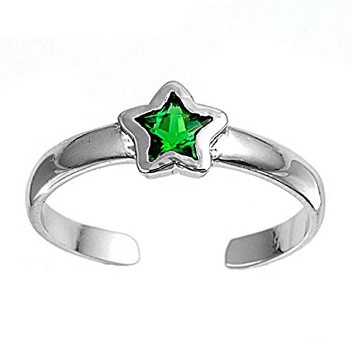 Amazon.com: Anillo de plata Toe con verde brillante CZ ...