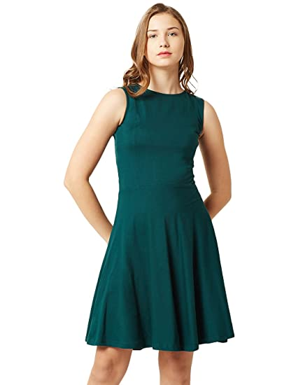 ecb964a705 Miss Chase Women s Green Back-Cut Out Skater Dress(MCSS15D05-02-48