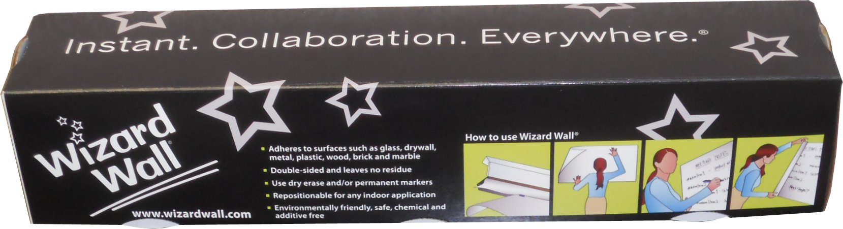 Wizard Wall Self Adhesive Dry Erase Roll System, Patented Static Adhesive Technology, Reusable and Self Cutting, 13'' x 25' Roll, White, 8-Pack