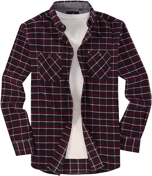 Mens Casual Button Down Shirts Regular Fit Long-Sleeve Plaid Flannel Shirt