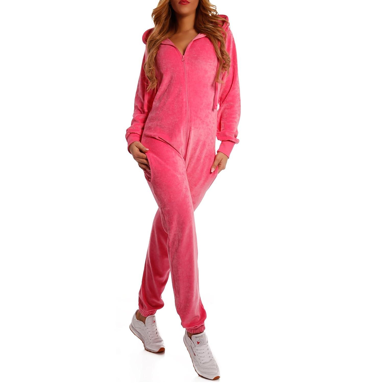 Crazy Age Damen Jumpsuit aus Samt Weich Kuschelig Overall Jogging Onesie Nicki, Velvet Elegant Wohlf/ühlen mit Style Ganzk/örperanzug Freizeit Anzug