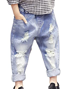 Niñas Niño Vaqueros Rotos Cintura Elástica Pantalones ...