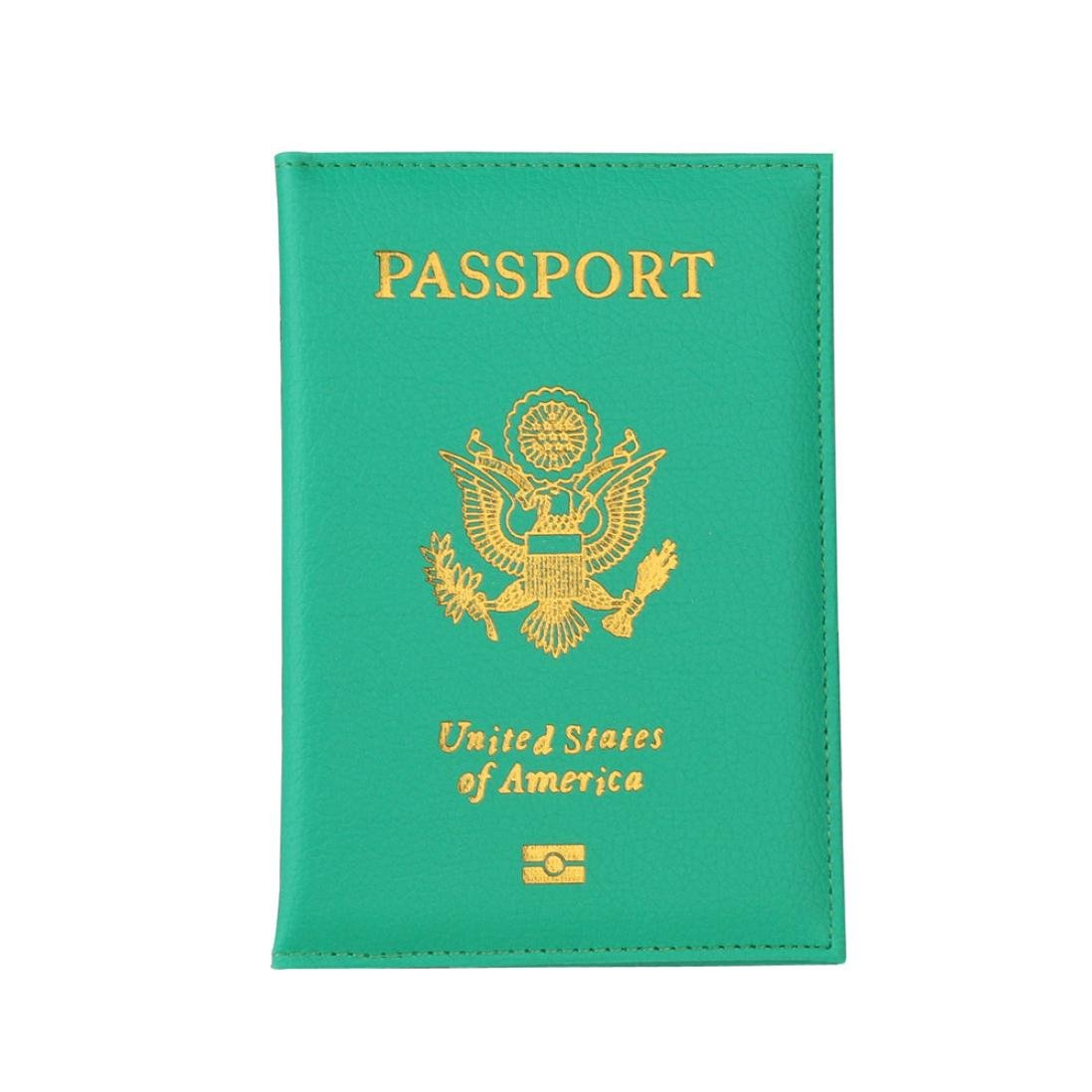 LLguz Unisex Litchi Pattern Passport Holder Protector Wallet Business Card Soft Passport Cover Certificate Card Bag Passport Protection Cover (Green)