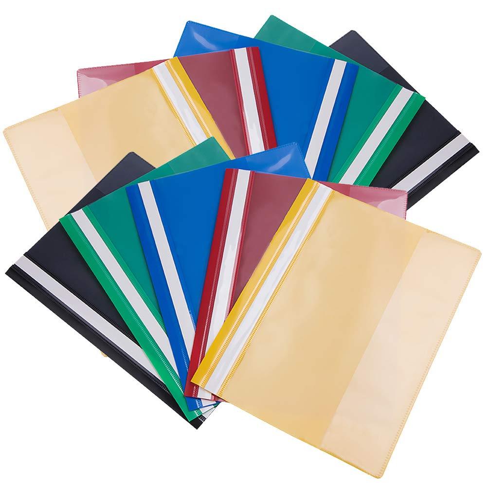 Carpetas de archivo Paquete de 10 colores surtidos A4 Presentación del proyecto Documento Informe de carpeta Archivo plano Plástico liviano Claro ...