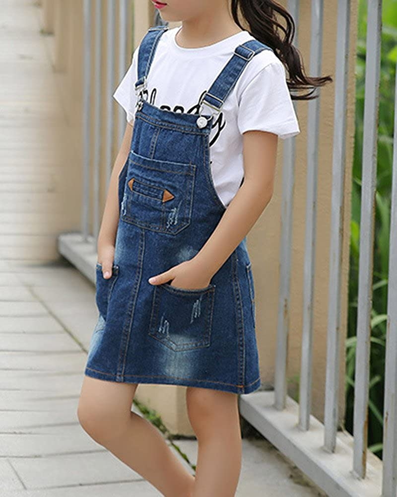 GladiolusA Denim Abiti da Principessa per Bambini Denim Vestito Jeans Overall Salopette