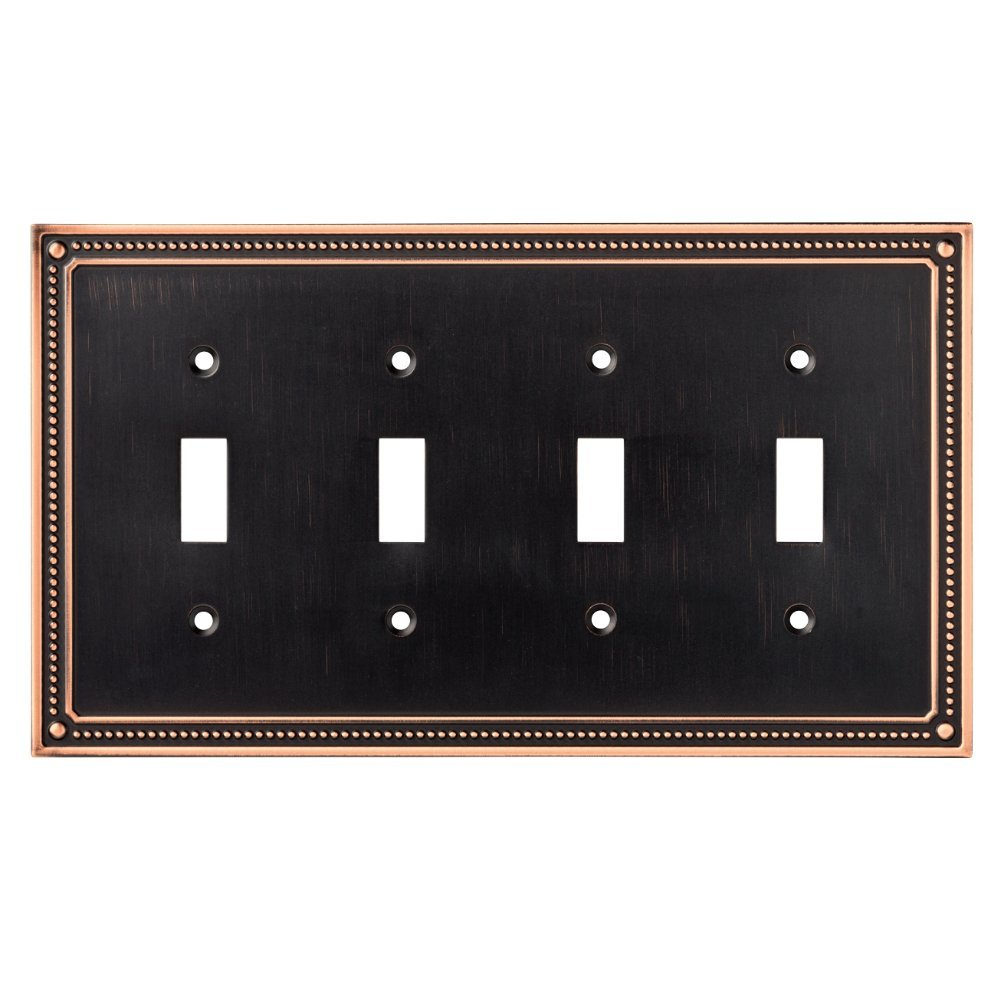Franklin Brass W35068-VBC-C Classic Beaded Quad Toggle Switch Wall Plate / Switch Plate / Cover, Bronze with Copper Highlights by Franklin Brass