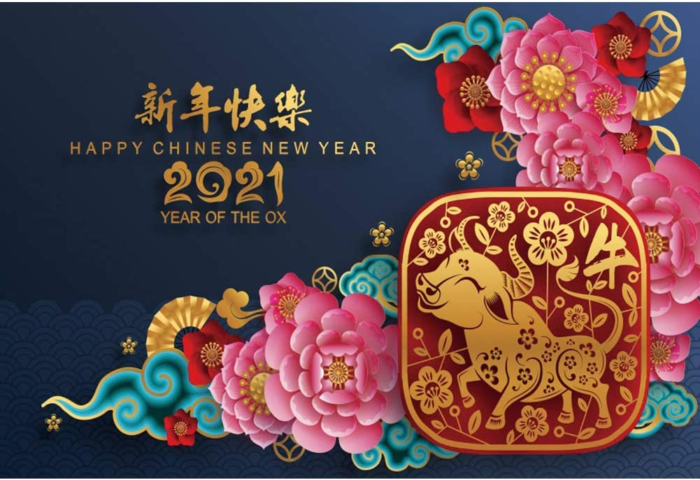 DaShan 12x8ft Spring Festival 2021 Happy Chinese New Year Backdrop Flowers Wall Year of The OX Chinese Theme Party Photography Background Asian Chinese New Year YouTube Portrait Photo Props