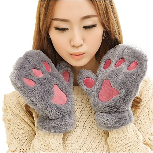 Winter Girl Warm Thick Gloves Plush Full Finger/Half Finger Mittens Cat Paw