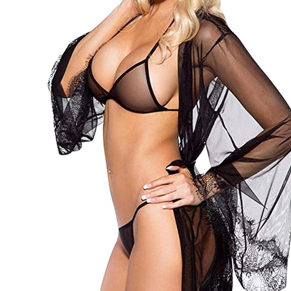 JiaMneg Moda Sexy Perspectiva Encaje Arco lencería tentación Bata Sexy de 7 Piezas más el tamaño