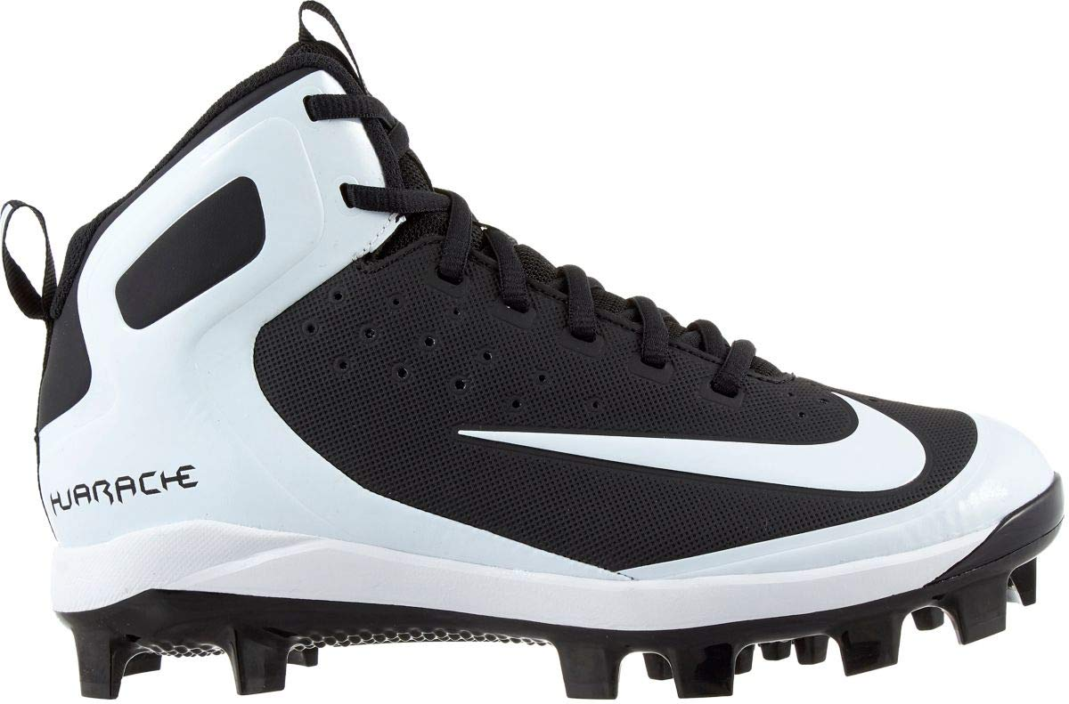 Nike Kids' Alpha Huarache Pro Mid Baseball Cleats (2, Black/White)