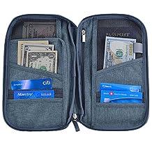 Hopsooken Travel Wallet & Passport Holder Organizer Rfid Blocking ID Card Pouch(Gray)