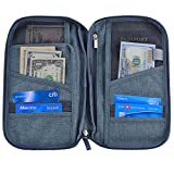 Hopsooken Travel Wallet & Passport Holder Organizer Multi-purpose Rfid Blocking ID Card Pouch Clutch Bag (Gray)