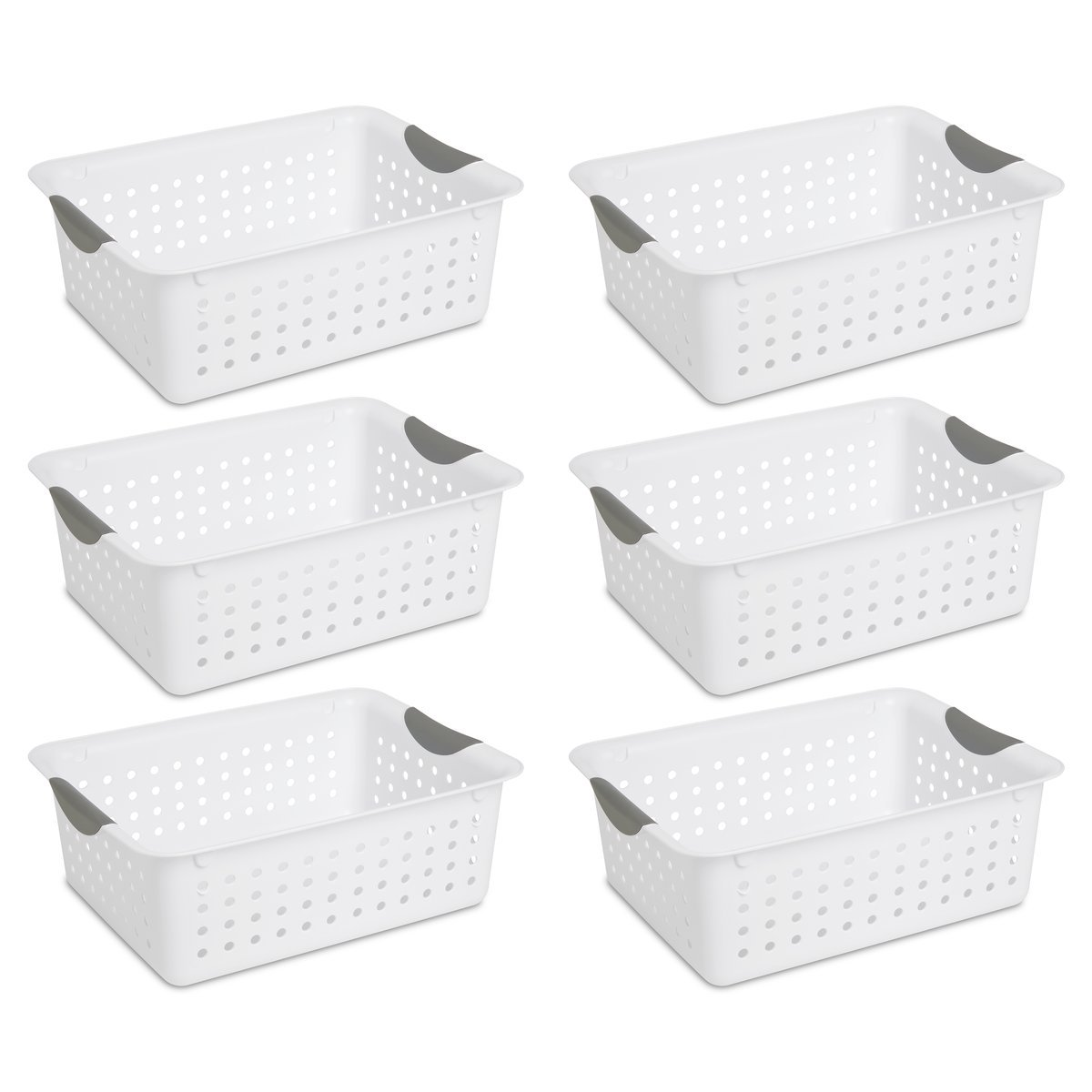 Sterilite 16248006 Medium Ultra Basket, White Basket w/ Titanium Inserts, 6-Pack