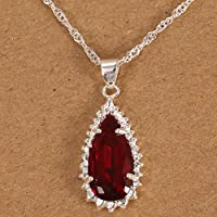 925 Silver Natural Ruby Drop Necklace Pendant with Chain Women Fashion Jewelry by Siam panva