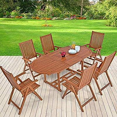 Casaria Conjunto de jardín de madera set de 1 mesa con extensión y espacio para sombrilla y 6 sillas plegables exterior: Amazon.es: Jardín