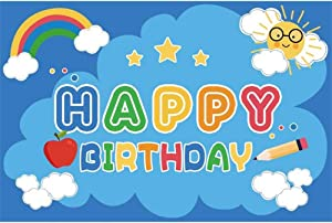 Happy Birthday Background 10x6.5ft Cartoon Blue Polyester Photography Backdrop Colorful Rainbow White Clouds Apple Pencil Stars Sun Cute Children Baby Kids Party Banner Studio Photo Props