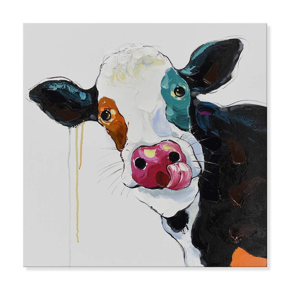 SEVEN WALL ARTS -Modern Abstract Cow Painting on